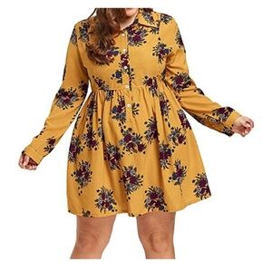 Dresses & Skirts - NWT Yellow Floral Shirt Dress Size XL
